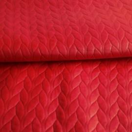 Ткань стеганный трикотаж кожа косичка красный (метр )