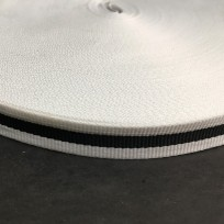 Тесьма репсовая тж 15мм белый 1п черная (50 метров)
