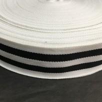 Тесьма репсовая тж 40мм белый 2п черные (50 метров)