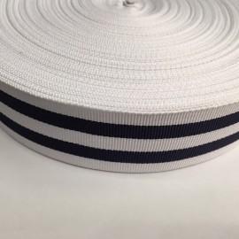 Тесьма репсовая тж 40мм белый 2п синие (50 метров)