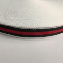 Тесьма репсовая тж 20мм белый 1п красная 2 черных (50 метров)