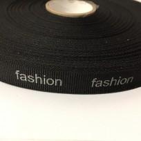 Тесьма с логотипом Fashion 15мм накатка серебро (50 метров)