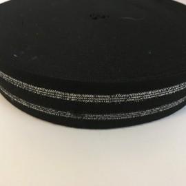 Резинка 40мм черный 2 серебрянных полосы (25 метров)