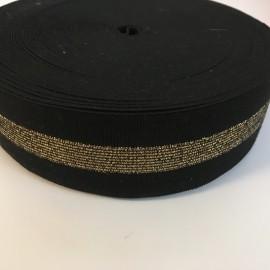 Резинка 50мм черный 1 золотая полоса (25 метров)