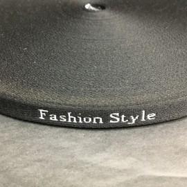Тесьма с логотипом Fashion Style 12 мм черный (50 метров)