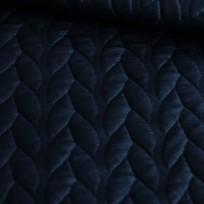 Ткань стеганный трикотаж кожа косичка темно-синий (метр )
