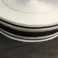 Тесьма репсовая тж 40мм белая 3п черный 2п серебро (50 метров)