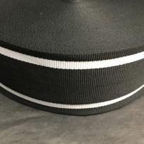 Тесьма репсовая тж 50мм черный 2п белые (50 метров)