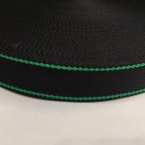 Тесьма репсовая тж 25мм черная 2п зеленые (50 метров)