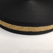 Тесьма репсовая тж 30мм черная 1п золото (50 метров)