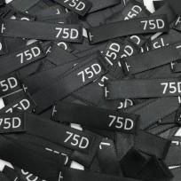 Размер атласный 10x50 мм 75D черный серебро (100 штук)