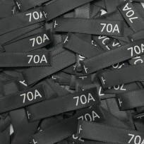 Размер атласный 10x50 мм 70A черный серебро (100 штук)