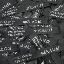 Этикетка состава атласная 10x90мм poliamide 87% elastane 13%  (100 штук)